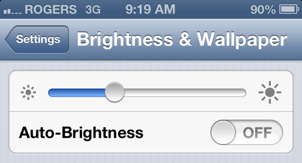 iOS Brightness Settings